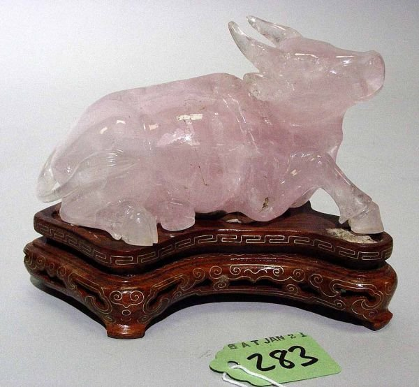 417: CHINESE CARVED ROSE QUARTZ FIGURE OF A WATER BUFFA