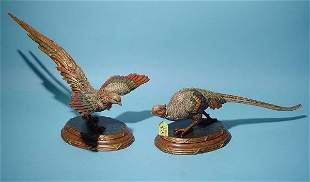 PAIR OF HAND-PAINTED CARVED WOOD COMPOSITION FIGUR