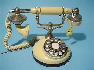 FRENCH STYLE ROTARY DIAL IVORINE TABLE TOP TELEPHO