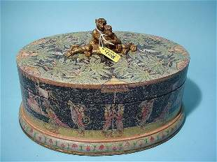 """GILDED AND DECORATED COVERED OVAL BOX, """"Royal Mon"""