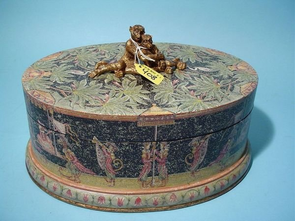 """408: GILDED AND DECORATED COVERED OVAL BOX, """"Royal Mon"""