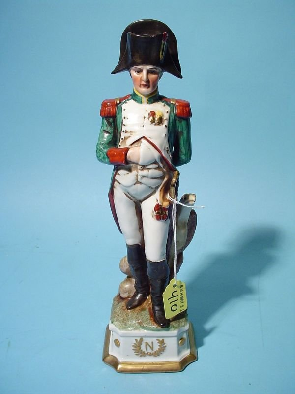 410: DECORATED AND GILTED PORCELAIN FIGURE OF NAPOLEON,