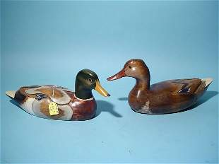 PAIR OF HAND-CARVED MALLARD DECOYS, consisting of