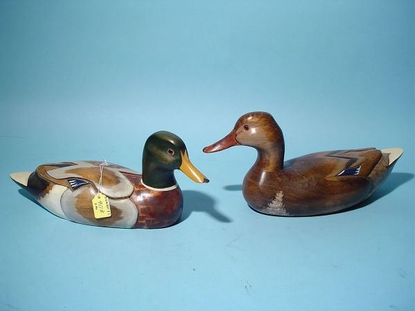 411B: PAIR OF HAND-CARVED MALLARD DECOYS, consisting of