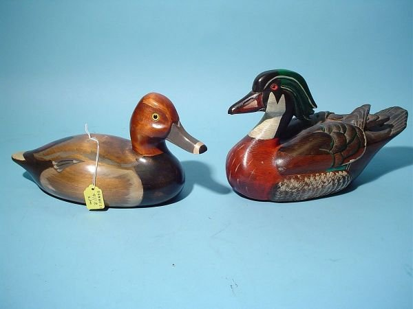 411C: LOT OF TWO OF CARVED WOOD DECOYS, consisting of a