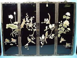 DECORATIVE SET OF FOUR LAQUERED SOAPSTONE MOUNTED