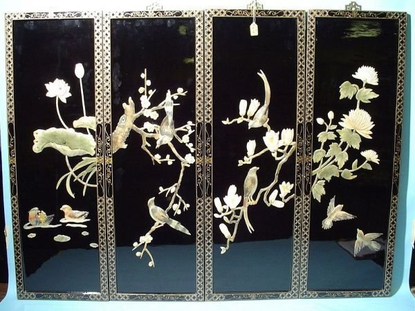 414: DECORATIVE SET OF FOUR LAQUERED SOAPSTONE MOUNTED