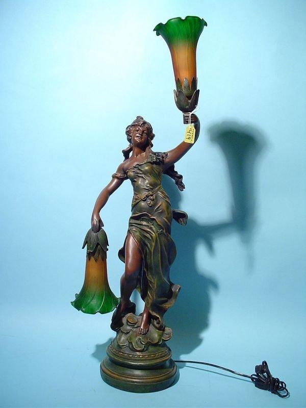 419: ART NOUVEAU STYLE FIGURAL TWO-LIGHT TABLE LAMP, we