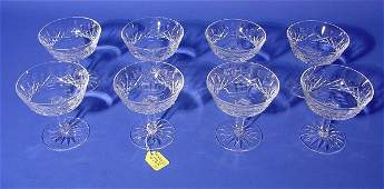 575J: SET OF EIGHT WATERFORD CUT CRYSTAL SAUCER CHAMPAG