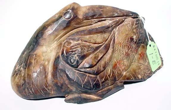 1E: ORIENTAL CARVED SOAPSTONE FIGURE OF A BIRD