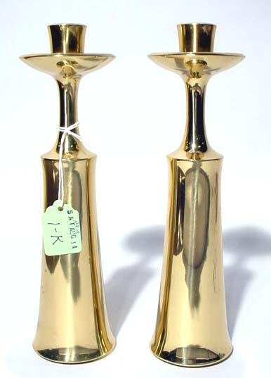 1K: PR. OF HEAVY POL. BRASS CONTP. STYLE CANDLE HOLDERS