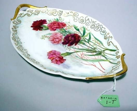 1T: LIMOGES DECORATED OVAL VANITY TRAY