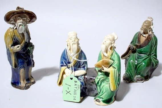 1X: LOT OF 4 CHINESE MUD FIGURES OF SCHOLARS AND ELDERS