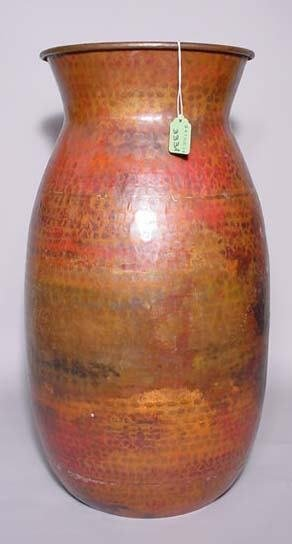 333A: HAMMERED COPPER FINISH METAL TALL OVOID VASE