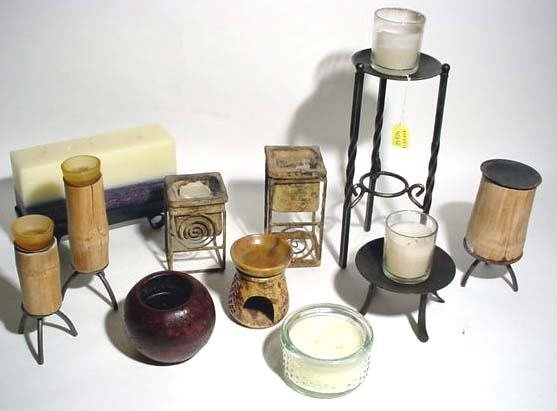 401U: BOX LOT OF CANDLES AND CANDLE STANDS