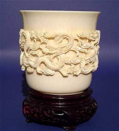 263: HEAVY AND WELL-CARVED CHINESE IVORY VASE, mid 20th