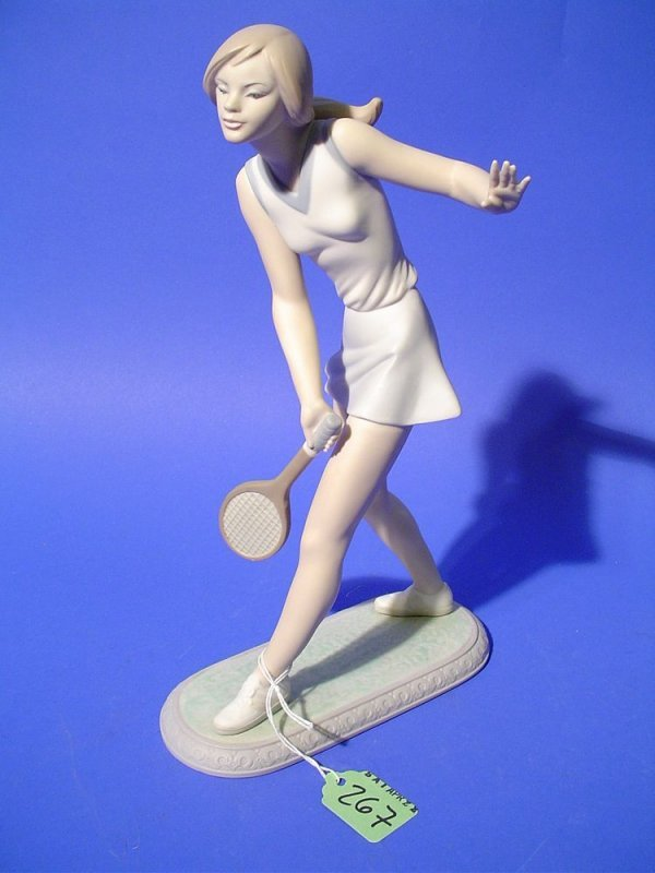 10A: LLADRO DECORATED PORCELAIN FIGURE, ''Girl Tennis P