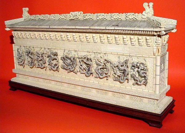 570: LARGE CHINESE EXCEPTIONALLY CARVED IVORY REPLICA O