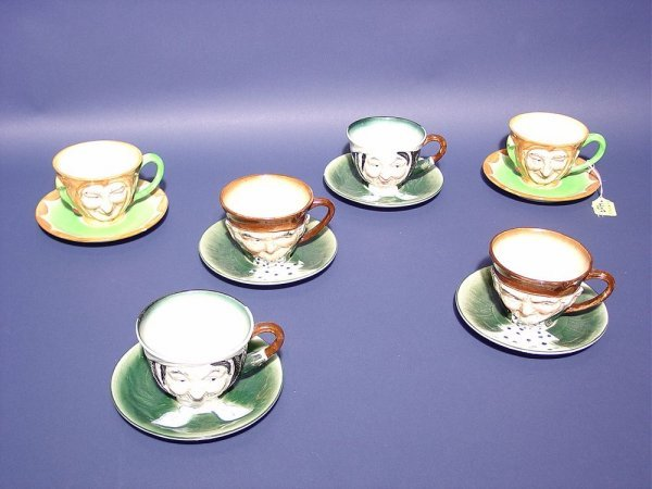403: SET OF SIX TOBY MUG STYLE CUPS AND SAUCERS, Japan,