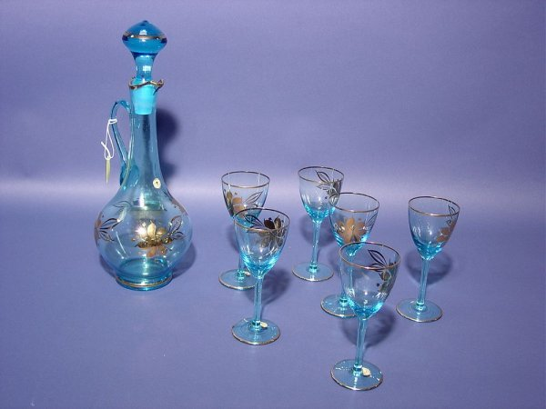405: SEVEN-PIECE ROMANIAN DECORATED BLUE GLASS DECANTER