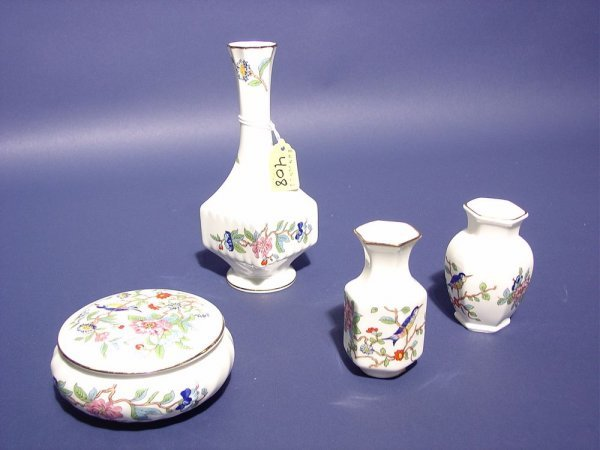 408: LOT OF FOUR AYNSLEY FLORAL DECORATED BONE CHINA CA