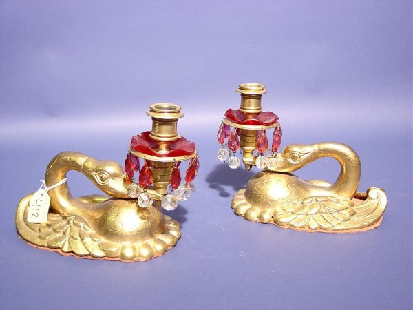 412: DECORATIVE PAIR OF SWAN FIGURED POLISHED BRASS CAN