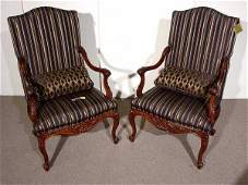626 PR FRENCH PROVENCIAL STYLE UPH MAHOG HALL CHAIRS