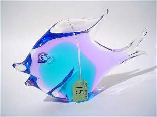 SWEDISH COLORED CRYSTAL SCULPTURE OF A FISH, signed