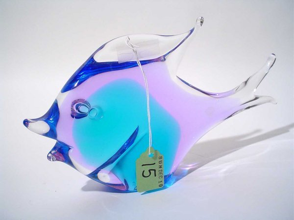 3: SWEDISH COLORED CRYSTAL SCULPTURE OF A FISH, signed