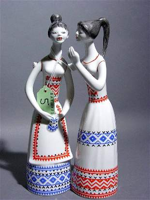 HUNGARIAN PORCELAIN GROUP OF TWO GIRLS, depicted wea