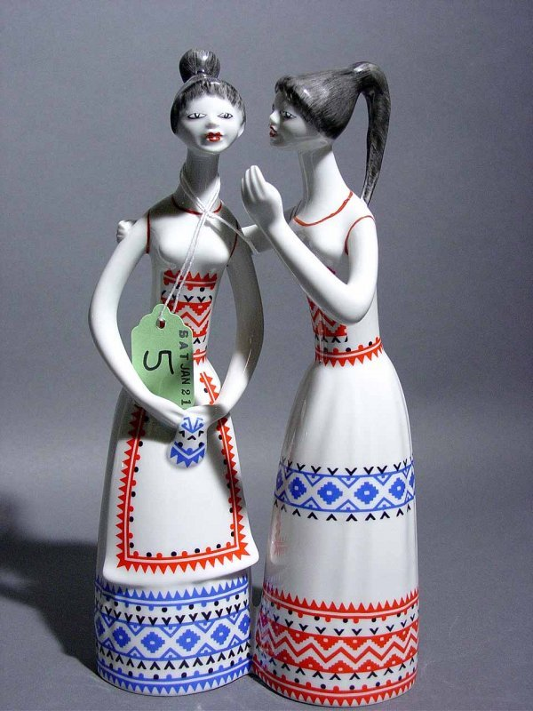 8: HUNGARIAN PORCELAIN GROUP OF TWO GIRLS, depicted wea