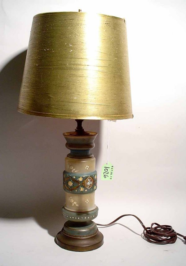 10: DECORATED GLASS TABLE LAMP, of waisted cylindrical