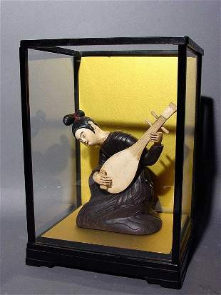 CHINESE CARVED IVORY, BONE AND LACQUERED WOOD FIGUR