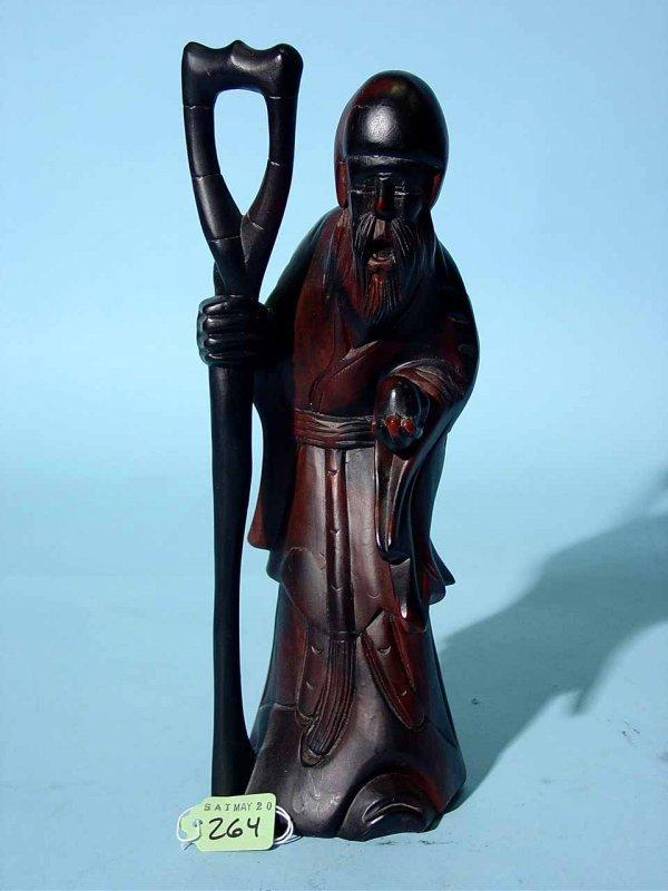 13: ORIENTAL CARVED EBONY STATUE OF AN OLD BEARDED MAN,