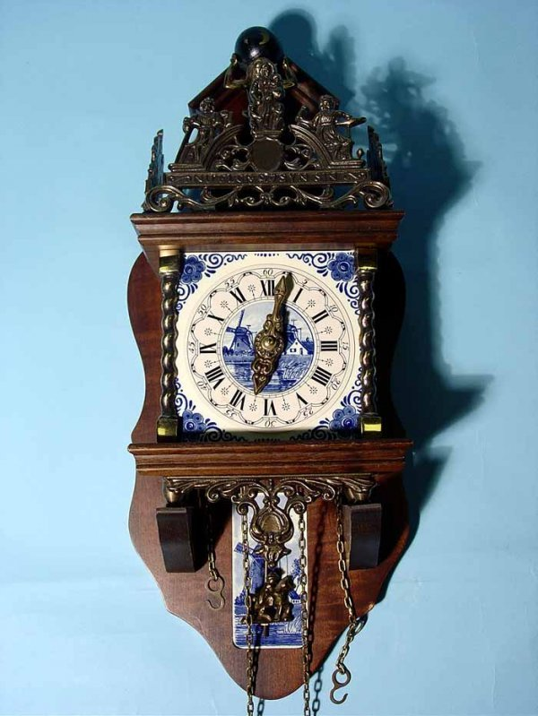 15: DECORATED DELFT PORCELAIN AND WALNUT WALL CLOCK, 20