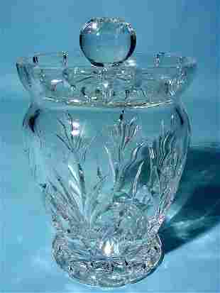WATERFORD CUT CRYSTAL BISCUIT BARREL, having a wais