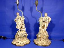 104: PAIR OF DECORATED BISQUE FIGURAL TABLE LAMPS, earl