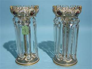 FINE PAIR OF BOHEMIAN OVERLAY DECORATED AND GILDED