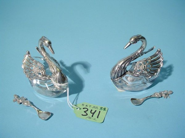 341: PAIR OF GERMAN CRYSTAL AND SILVERPLATED SWAN FORM