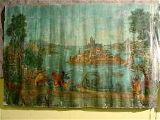 303: LOT OF FOUR FRENCH OIL ON CANVAS MURALS, 20th cent