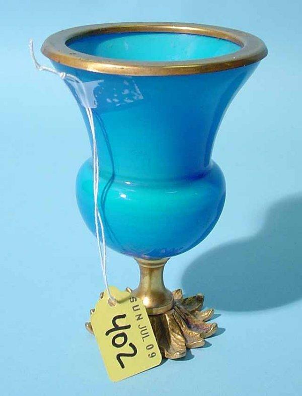 402: FRENCH BLUE OPALINE GLASS AND BRONZE DORE' PEDESTA