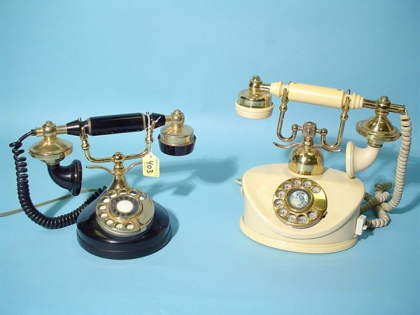 403: LOT OF TWO ANTIQUE STYLE ROTARY DIAL TELEPHONES, '