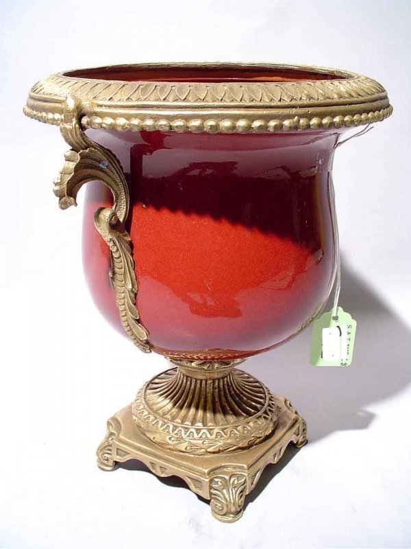 412: NEOCLASSICAL STYLE BRONZE MOUNTED OXBLOOD PORCELAI