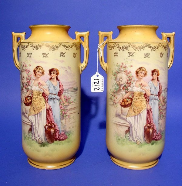 413: PAIR OF AUSTRIAN GILDED AND DECORATED EARTHENWARE