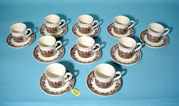 417: 20-PIECE CHURCHILL BROWN-ON-WHITE DECORATED PORCEL