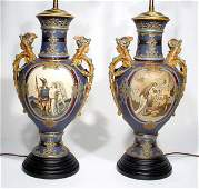 573: FINE PAIR OF METTLACH DECORATED STONEWARE FIGURAL
