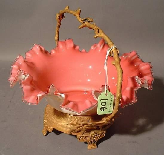 584: VICTORIAN PINK CASED GLASS BRIDE'S BASKET, late 19
