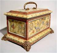 677: GILDED AND DECORATED COMPOSITION COVERED BOX, ''Pa