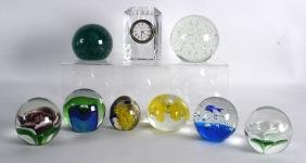 A WATERFORD CRYSTAL CUT GLASS CLOCK together with eight
