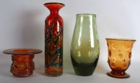 A WEBB ART GLASS VASE together with three others.